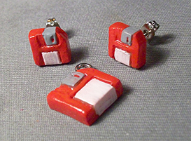 Sculpey Earrings - red floppies