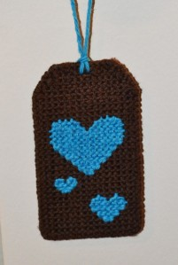 Luggage Tag 1 (blue hearts on brown)